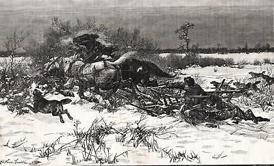 Wolf Pack Attacking Horse Sled in Lithuania, Large 1880s Antique Print