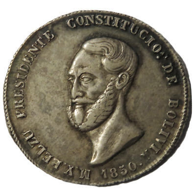 1850 4 Soles Bolivia Potosi Medallic Proclamation Issue