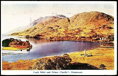 Postcard - Loch Shiel And Prince Charlie's Monument Posted 1949 Stamped