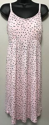 Bump In The Night Maternity Nursing Chemise Nightgown Size Medium Pink Hearts
