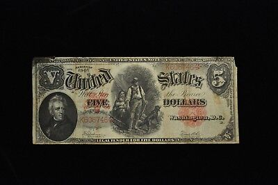 1907 Five Dollar Red Seal Large Size Note /X50