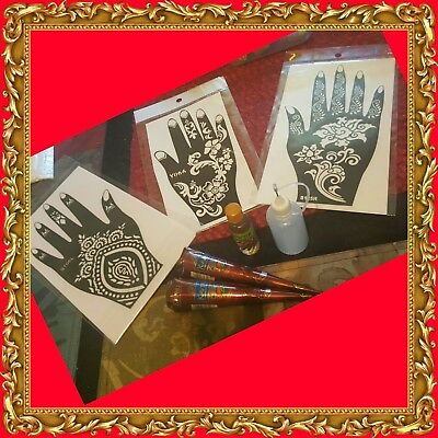 Henna Rubber Stencil Reusable Mehandi Tattoo Body Art Various Design