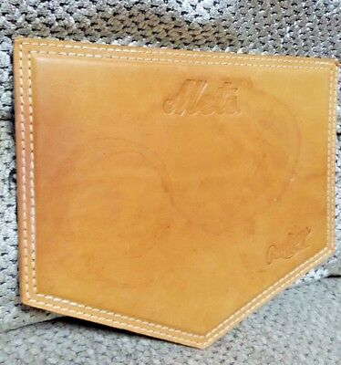 """RAWLINGS Brown Leather """"New York Mets"""" Mouse Pad"""