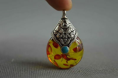 Collectable Handmade Amber Armor Miao Silver Carve Special Character Pendant