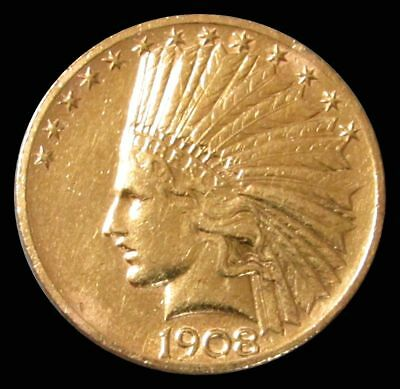 Genuine 1908 United States $10 Gold Indian Coin