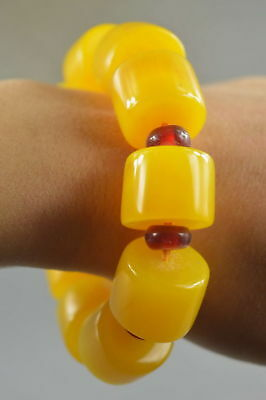 Collectable Decor Amber Carve Pray Bead Bring Lucky Moral Happiness Bracelet