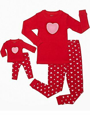 Leveret Hearts Girls Matching Doll & Kid 2 Piece Pajama 100% Cotton (2-10 Y)