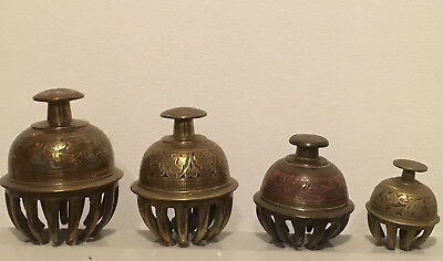 4 Old Vintage Brass Elephant Claw Bells