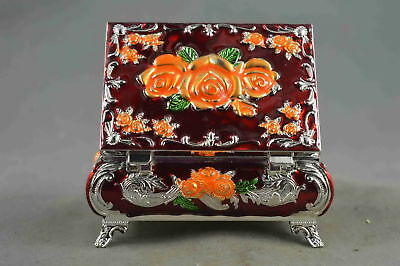 Collectable Handmade Decor Cloisonne Carve Beauty Flower Royal Lucky Jewel box