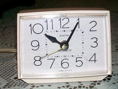 Vintage Westclox Dialite Electric Alarm Clock Off White Lighted Made USA Retro