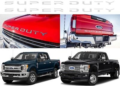 Polished Stainless Steel SUPER DUTY Grill & Tailgate Inserts For 2017+ Ford F250