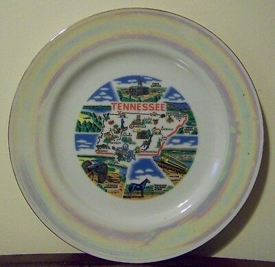 Tennessee Souvenir Plate Vintage Great Smoky Lookout Mountains Walking Horse