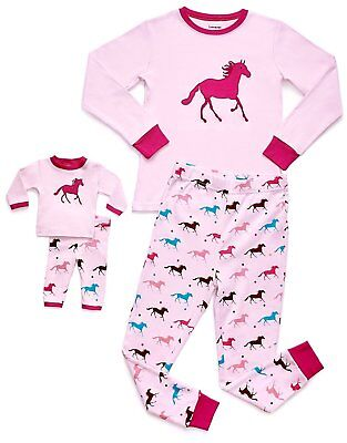 Leveret Horse Girls Matching Doll & Kid 2 Piece Pajama 100% Cotton (2-10 Y)