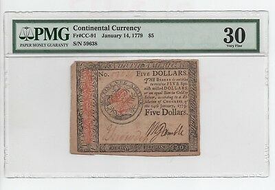 1779  $5  Continental  Currency  Note- Pmg 30  Very  Fine