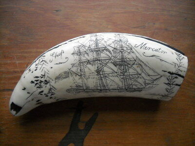 SHIP MERCATOR Whale tooth scrimshaw replica - very  detailed