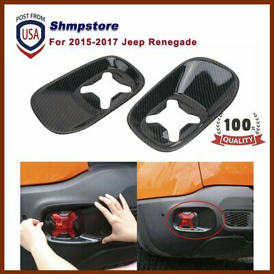 Carbon Black Rear TailFog Light Frame Covers For 2015-2017 Jeep Renegade 1 Pair