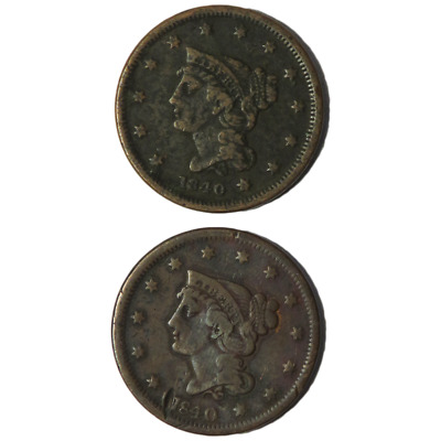 Lot of 2 - 1840 1c Braided Hair Large Cent Large Date & Small Date