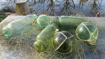 """Japanese Glass FLOATS GREEN HUES 5-6"""" ROLLERS-(3) + 2""""-Netted-(3) +Net Piece Vtg"""