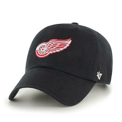 c00fc8213461f DETROIT RED WINGS  47 Brand Black Clean Up Adjustable Dad Hat ...