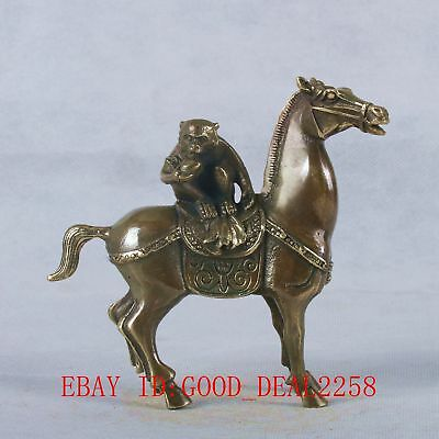 """Old Chinese Bronze Handmade Carved """"A Monkey on Horse""""  Statue"""