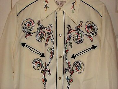 Vintage H Bar C California Rockabilly embroidered Hollywood Cowboy Shirt sz. 16