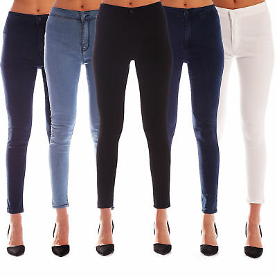 New Womens High Waisted Stretchy Skinny Jeans Ladies Jeggings 6/8/10/12/14/16/18
