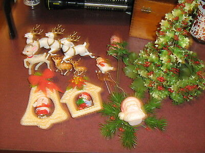 Vintage Christmas plastic decorations lot of 13