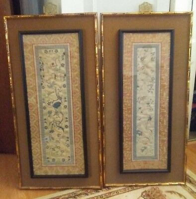 """2 Vintage Chinese Silk Embroidery Hand Sewn Gold/Blue Bird & Flowers  26 x 10 """""""