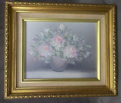 Vintage Pink White Roses Floral Still Life Oil Painting Gold Gilt Picture Frame