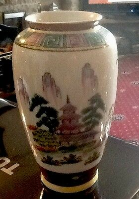 Vintage Oriental Hand Painted Vase Height 9cm X  D8.5cm Unmarked