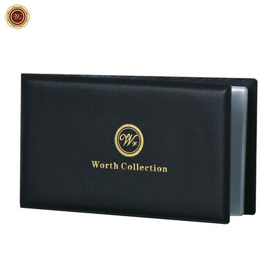 WR Banknote Album Currency Wallet Money Holder Leather /w 12 Transparent Pockets