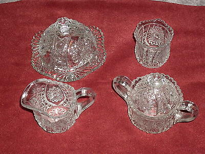 Antique Victorian Crystal Sugar/Creamer Table Set. 6 piece star & ladder pattern