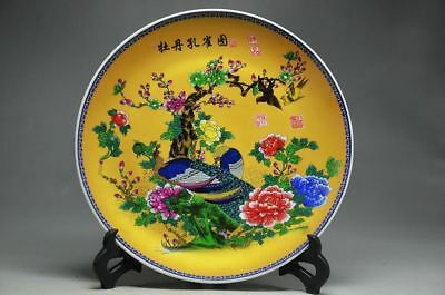 China Famille Rose Porcelain Handwork Phoenix and Peony pattern Plate