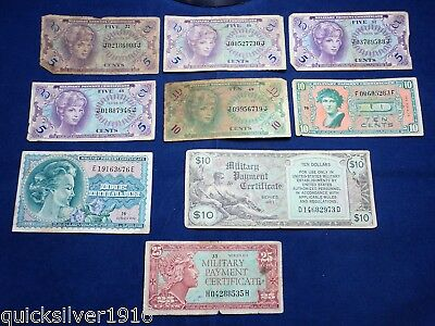 Lot of 9 U.S Military Payment Certificates