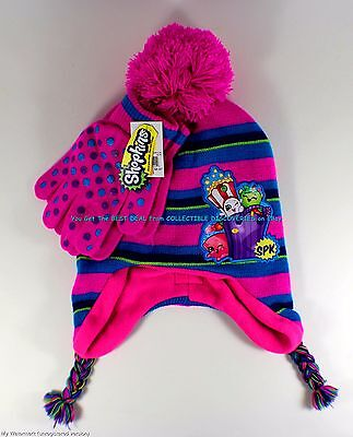 SHOPKINS Girls Youth POM BEANIE HAT w/ GLOVES One Size Fits Most NWT Ships Today