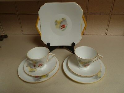 2 X  Shelley China   Trio      And  Cake Plate
