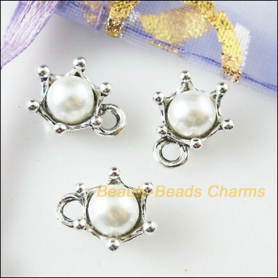 8Pcs White Tibetan Silver Tone Acrylic Crown Charms Pendants 10.5x13mm