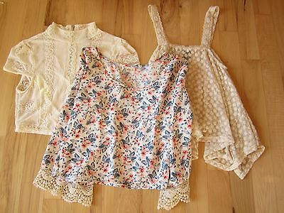 Hollister lot of three floral, embroidered, size medium tops