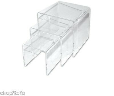 Set of Three (3) Clear Acrylic Display Risers