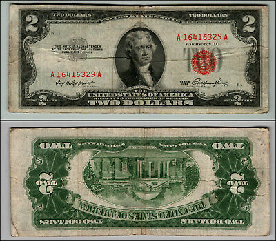 1953 $2 Dollar Bill  Us Note Legal Tender Paper Money Currency Red Seal P865