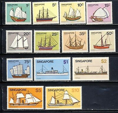 Singapore Scott 336-48 mnh vf complete ship set with mostly sailing ships 29.95