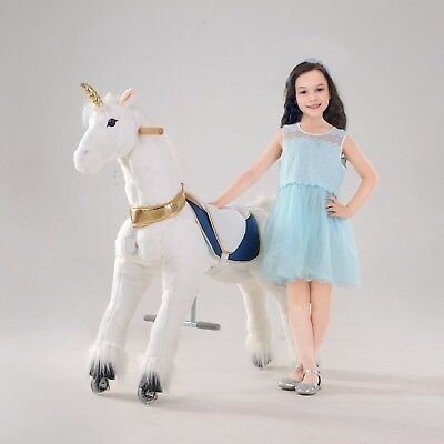 """UFREE Action Pony Ride on Toy Horse 44""""Large, 6-Adult, Unicorn with Golden Horn"""