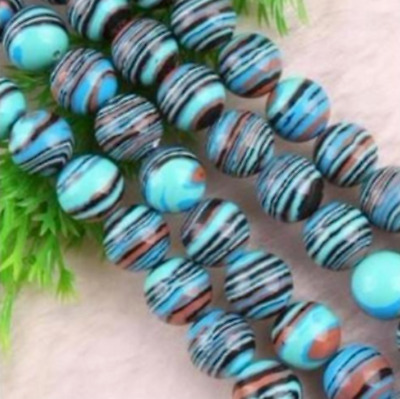 Beautiful 8mm Multicolor Turkey Turquoise Round Gemstone Loose Beads 15''