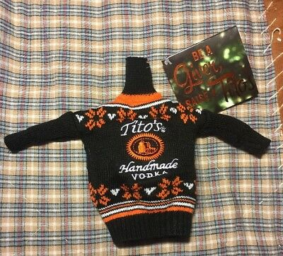Tito's Handmade Vodka Ugly Sweater Bottle Cover Fits 750 ML New w Tags Christmas
