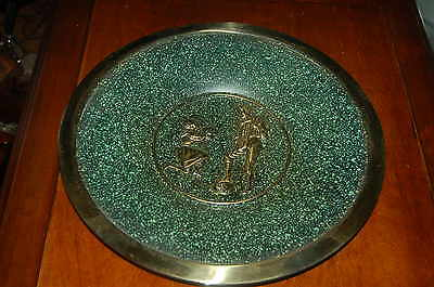 Vintage Round Brass & Jade Marble Color Hand Made 3-D Wall Plaque Hanging Plate