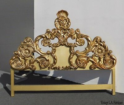 Vintage French Provincial Rococo Ornate Gold King Size Headboard w Scrolls