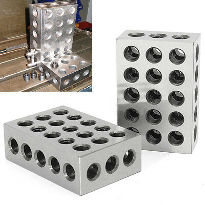 """2PC Matched Ultra Precision 123 1-2-3 Blocks 23 Holes 0001"""" Machinist Tool Steel"""
