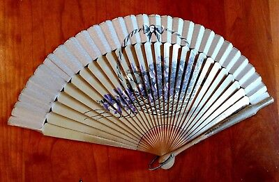 Vintage Mid-Century Painted Wood Hand Fan: Floral, Basket of Violets