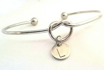 Custom Made Hand Stamped Initial Letter Love Heart Knot Cuff Bangle Silver Steel