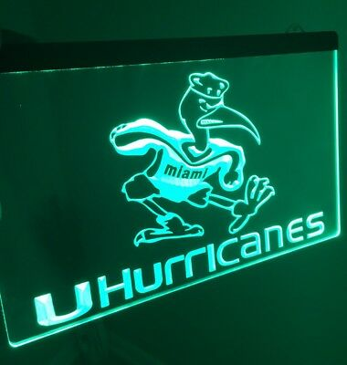 MIAMI HURRICANES LED Neon Sign for Game Room,Office,Bar,Man Cave. NEW!